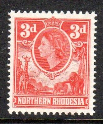 1953 NORTHERN RHODESIA DEFINITIVES 3d scarlet SG65 mint unhinged