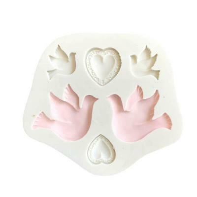 Bird Love Heart Cake Silicone Mould Sugarcraft Cupcake Toppers Decorating C
