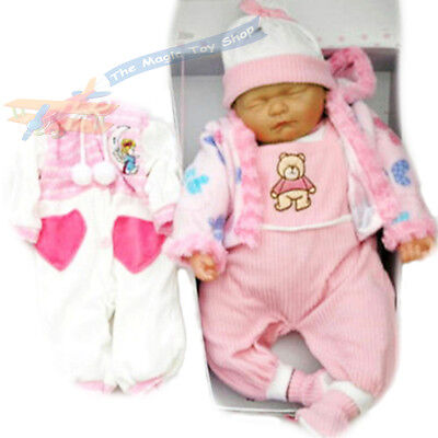 """New Born 18"""" Sleeping Soft Bodied Vinyl Baby Doll With Outfit & Box Girls Toy"""