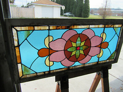 ~ ANTIQUE STAINED GLASS TRANSOM WINDOW ~ 48 x 22 ~ ARCHITECTURAL SALVAGE ~