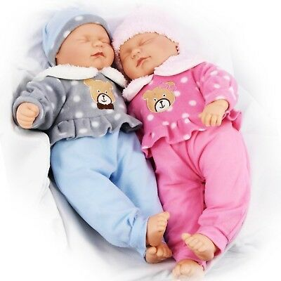 "18"" Twins Dolls Twin Babies Cuddles Baby Girl Boy New Born Doll, 2 Extra Outfits"