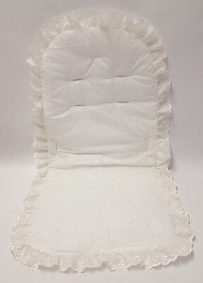 Broderie Anglaise Pram Seat Liner Frilly Romany Beautiful 4 Baby Buggy White BN