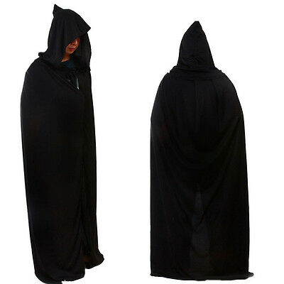 Death Cloak With Hood God of Death Cape Witch Robe Halloween Cosplay Costume US