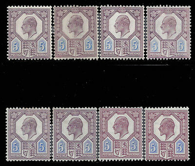 Great Britain GB 1902-1911 5d Purple & Blue King Edward VII Selection Mint