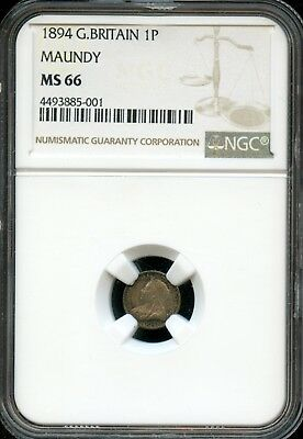 Outstanding Set of 1894 MS 66 NGC Great Britain Maundy - 4 Coin Set - Ei65