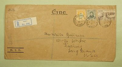 1942 Ireland #83 On Tri Franked Registered Dublin To Usa