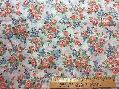 Vintage Cotton Lawn Fabric 40s50s PRETTY Blue & Orange Floral 35w 1yd