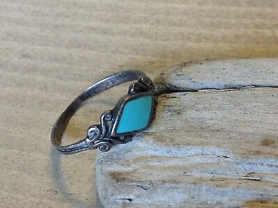 Marsala Inlaid Turquoise Stone Swirl Band Sterling Silver 925 Ring Sz 8