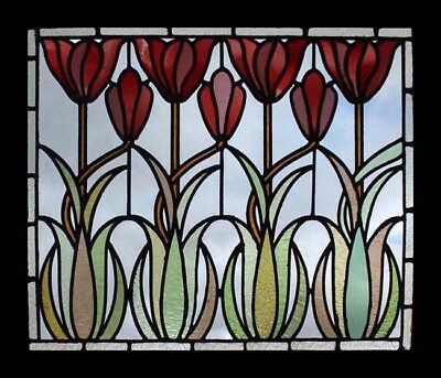 Amazing Very Rare Art Nouveau Tulips Antique English Stained Glass Window
