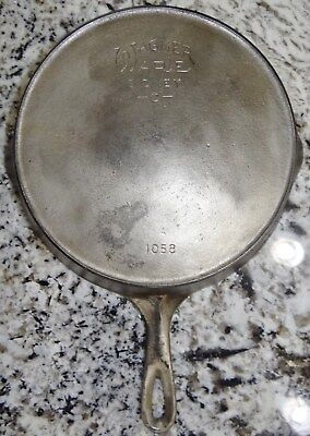 Wagner Ware 1058 Pan #8 Skillet w/Heat Ring Nickel Cast Iron Vtg Antique NICE!!