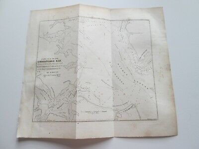 """1854 E. & G. W. BLUNT CHART  """"ENT. CHESAPEAKE BAY"""" 8-1/4"""" wide by 7-1/4"""" tall."""