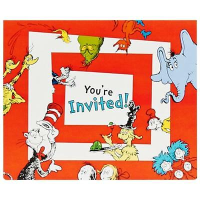 Dr Seuss Stripes Birthday Party Invitations with Envelopes 8 Per Package New