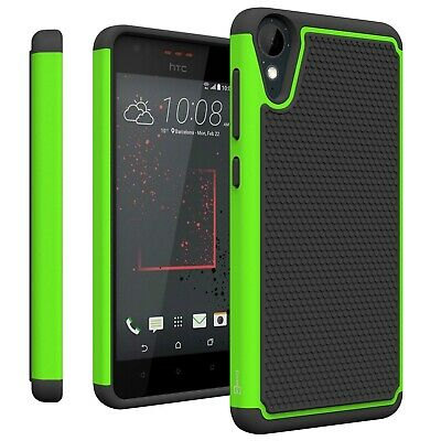 For HTC Desire 825 Neon Green & Black Case Hybrid Protective Shock Proof Cover
