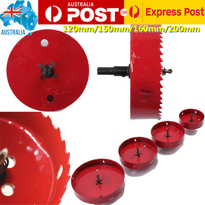 Red Bi Hole Saw Cutter Drill Bit Aluminum Iron Pipe M42 HSS 120/150/160/200mm AU
