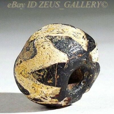 Ancient Glass Bead Black, White Zig-Zag Trailings Ex Bonhams London UK 2004