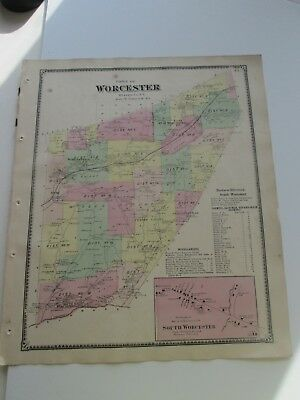 "1868 Antique Map, F. W. Beers, Otsego Co. Atlas, "" Town Of Worcester"""