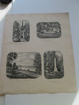 """1868 Antique Map, F. W. Beers, Otsego Co. Atlas, """"4 Views, 3 Cooperstown, Plus"""""""
