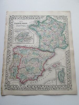 1871 ANTIQUE MAP of  FRANCE, SPAIN, PORTUGAL, by  S. AUGUSTUS MITCHELL