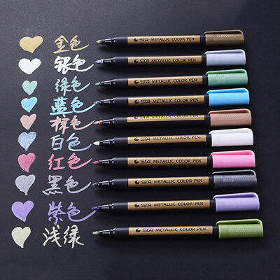 10 Colors STA Metallic Paint Marker Pens Fine Tip Calligraphy Brush Drawing Lot