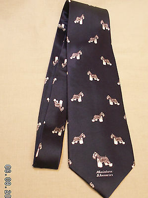Miniature Schnauzer Dog 100 % Silk Tie Mens Tie