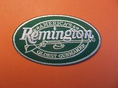 REMINGTON RIFLES  green& white Embroidered 2-1/2 x 4 Iron On Patch