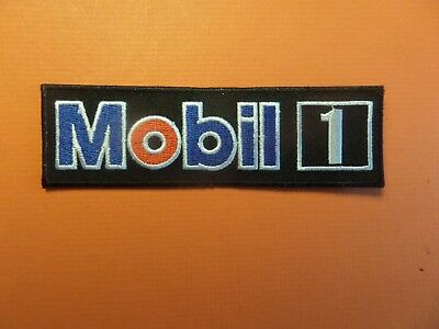 MOBIL OIL RACING blue & white & black Embroidered 4-3/4 x 1-3/4 Iron On Patch