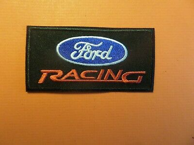 FORD RACING blue & white & black Embroidered 1-7/8 x 3-3/8 Iron On Patch