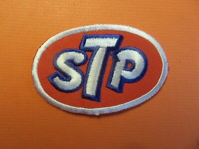 "STP"" OIL blue & white & red  Embroidered 2-1/8 x 3-1/8 Iron On Patch"