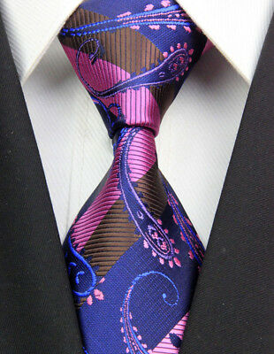Navy Pink Paisley Man Classic JACQUARD Woven Necktie Tie Formal New