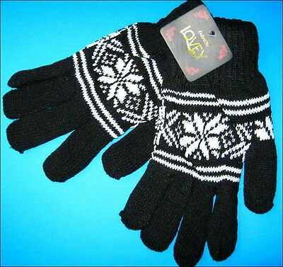 One Pair ADULT Black Winter Snowflake Thick Knitted Gloves NWT FREE POST