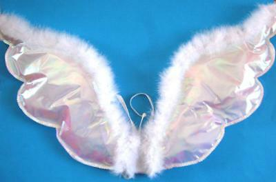 Feathered Holo Angel Wings Sequin Trim Girls Ladies Costume Party Accessory New