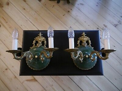 french old 2 light pair fine empire wall lamps sconces antique green varnish