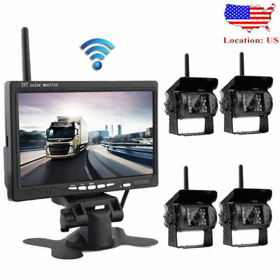 """4 X Wireless Rear View Backup Camera Night Vision + 7"""" Monitor For RV Truck Bus"""