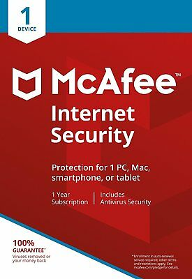 McAfee 2019 Internet Security 1 PC/Device  1 Year Licence Windows 10 Posted NEW