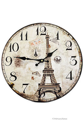 "14"" Large Wood Vintage-Style French White Eiffel Tower Paris Wall Clock"