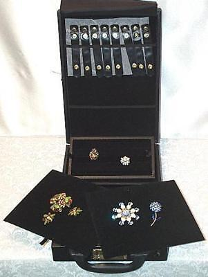 Small Compact Travel Salesman Jewelry Attache Carrying Case w/ Combo Lock
