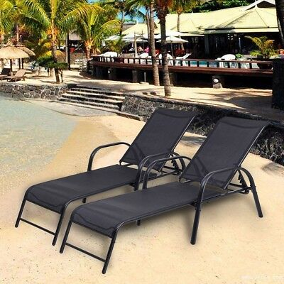 Adjustable 2Pcs/Set Patio Lounge Chairs Pool Recliner Chaise Outdoor Vintage US