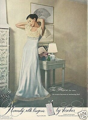 1948 FISCHER Pale Blue Silk NIGHTGOWN Lacy Sweet Vintage LINGERIE Photo Print Ad