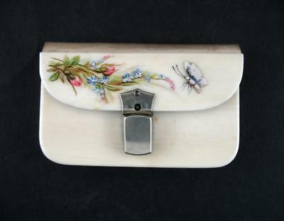 Vintage 1920s /30s Ivorine Coin Purse  Mother of Pearl Butterfly Flowers Vgc