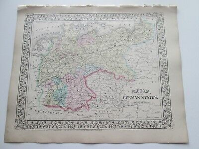 1871 ANTIQUE MAP of  PRUSSIA AND GERMAN STATES by  S. AUGUSTUS MITCHELL
