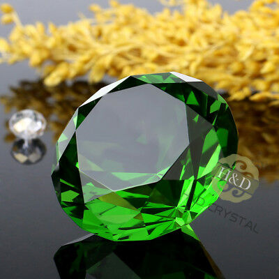 2351cd38a2d71 Crystal Green Paperweight Faceted Cut Glass Giant Diamond Jewel Decor Craft  30mm