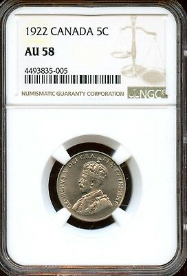 Marvelous 1922 NGC AU 58 Canada 5c Coin XF429