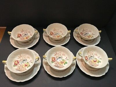 Royal Doulton China Grantham D5477 6 Handled Cream Soup Bowls & 6 Saucers