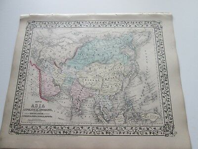 1871 ANTIQUE MAP of ASIA by  S. AUGUSTUS MITCHELL