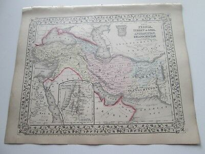 1871 ANTIQUE MAP of PERSIA, AFGHANISTAN, BELOOCHISTAN + by  S. AUGUSTUS MITCHELL