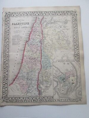 1871 ANTIQUE MAP of PALESTINE OR THE HOLY LAND by  S. AUGUSTUS MITCHELL