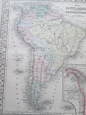 1871 ANTIQUE MAP of SOUTH AMERICA   by  S. AUGUSTUS MITCHELL