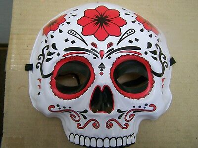 day of the dead plastic sugar skull halloween mask with elastic strap red