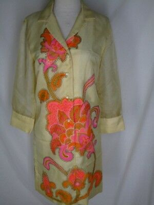 "Vintage Alfred Shaheen The Master Printer Yellow Dress 34"" Bust Orange Pink"