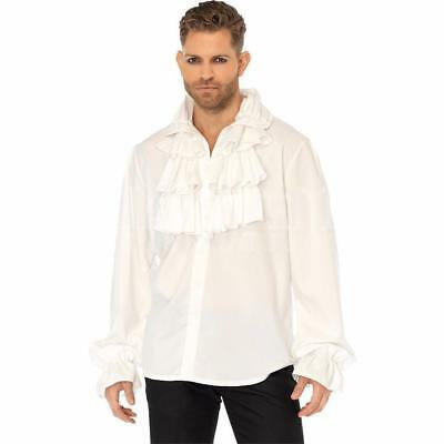 Mens White Ruffle Shirt Regency Beast Prince Adam Pirate Medieval King Victorian